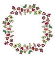 Round frame with different vintage Christmas vector image