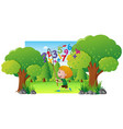 scene with boy catching numbers in park vector image vector image