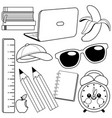 school supplies black and white coloring page vector image