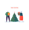 seniors with christmas tree elderly couple vector image