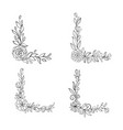 set black and white hand drawn corner floral vector image vector image