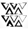 set grunge triangle brush strokes vector image