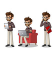 set of hipster businessman working on gadgets vector image vector image