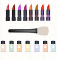 Set of realistic colored lipsticks brush for vector image vector image
