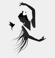 silhouette of spanish flamenco dancer wearing a vector image vector image
