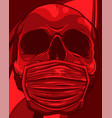 skull face in medical face mask vector image