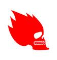 skull fire head skeleton flame flaming skull vector image