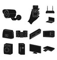 smart home appliances black icons in set vector image