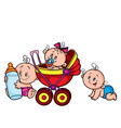 three babies one sitting in a stroller second vector image vector image