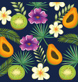 tropical garden with kiwi and papaya vector image vector image
