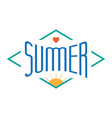 Vintage Summer label with sun and heart for vector image