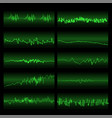 green sound waves set screen of equalizer vector image