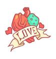 human anatomical heart with ribbon colorful vector image