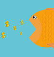 a fish eat dollars icon business concept vector image vector image