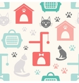 Animal seamless pattern of cat silhouettes vector image vector image