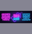 big sale neon sign on brick wall background neon vector image vector image