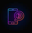 bitcoin speech bubble in phone colorful outline vector image vector image