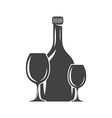Bottle and two glasses Black icon logo element vector image
