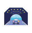 car with turn signal vector image