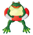 cartoon frog with a lifebuoy vector image vector image