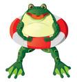 Cartoon frog with a lifebuoy vector image