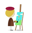 cartoon kid painter vector image vector image