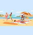 cartoon seaside panorama scenery with tourist vector image