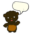 cartoon worried black bear with speech bubble vector image vector image