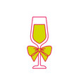 champagne glass with bow decoration christmas vector image vector image
