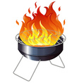 Charcoal stove with flame vector image