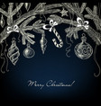 christmas ornaments white over dark background vector image vector image