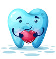 cute cartoon tooth with pink heart vector image