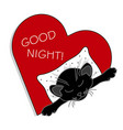 cute cat sleeping on a pillow in a heart vector image