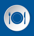 cutlery plate - simple blue icon on white button vector image