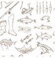 Fishing tackle tools Seamless Pattern Sketches vector image vector image