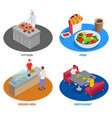 food court areas set vector image vector image