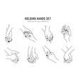 friendship and lovers hand gestures in linear vector image