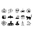halloween hand drawn line icons on white vector image vector image