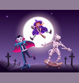 halloween zombie party vampire witch and mummy vector image
