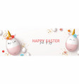 happy easter horizontal banner vector image vector image