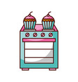 kitchen cupcake over stoven cooking concept vector image