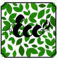 lettering eco black color on green leaves vector image vector image