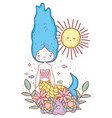 mermaid woman with flowers plants and sun vector image vector image