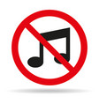 no music sign on white background vector image vector image
