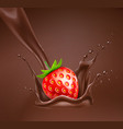 realistic strawberry in chocolate splash vector image vector image
