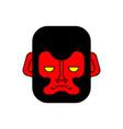 red gorilla face evil monkey head vector image vector image
