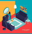 room cleaning isometric composition vector image vector image