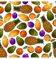 Seamless sweet and juicy fresh fruits pattern vector image vector image