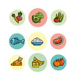 set nutrition vegetables and fruits with protein vector image