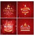 set of christmas golden and red greeting card vector image vector image